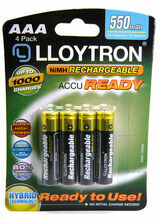 AAA 800mAH NI-MH Pre-Charged Rechar.Battery 4pk