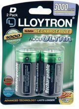 \'D\' 3000mAH NI-MH Rechargeable Battery 2pk