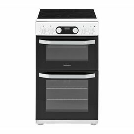 HOTPOINT HD5V93CCW 50cm Ceramic Double Oven Cooker White