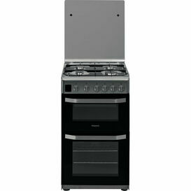 HOTPOINT HD5G00CCX 50cm Gas Double Oven Stainless Steel