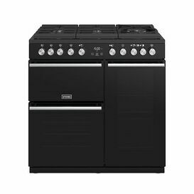 STOVES 444410749 90cm Dual Fuel Precision Deluxe Range Cooker Gas Through Glass Black