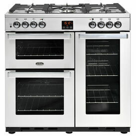 BELLING 444444069 Cookcentre 90cm Dual Fuel Professional Stainless Steel