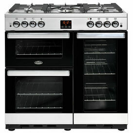 BELLING 444444076 Cookcentre 90cm Natural Gas Range Cooker Stainless Steel